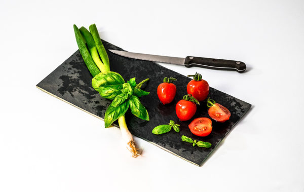 Basil, tomato and leeks