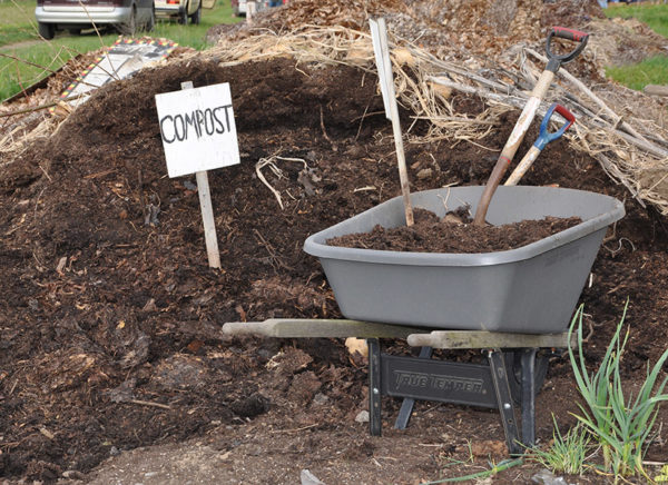Compost in a pile ready to add to the garden soil