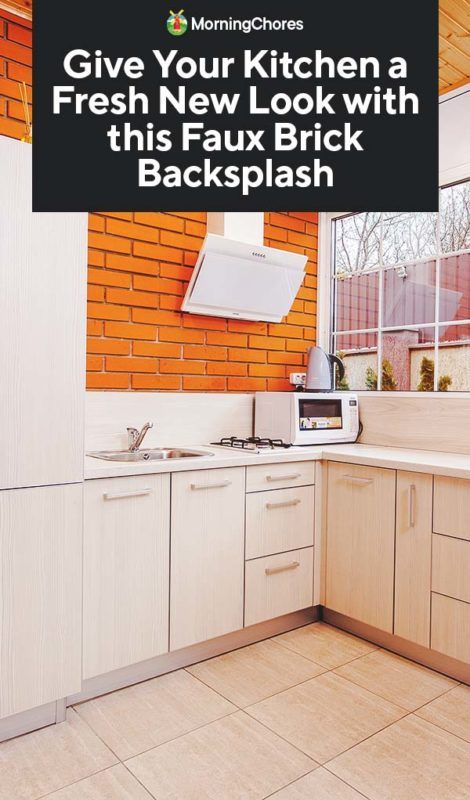 enchanting faux brick backsplash kitchen | Give Your Kitchen a Fresh New Look with this Faux Brick ...