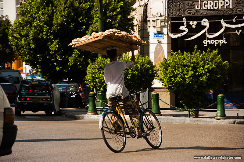 Delivery of flatbread in Egypt