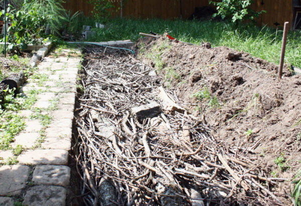 The beginning of a hugelkultur bed with sticks in a trench