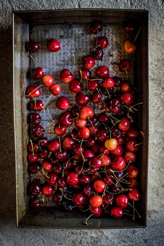 Cherries drying on a sheet