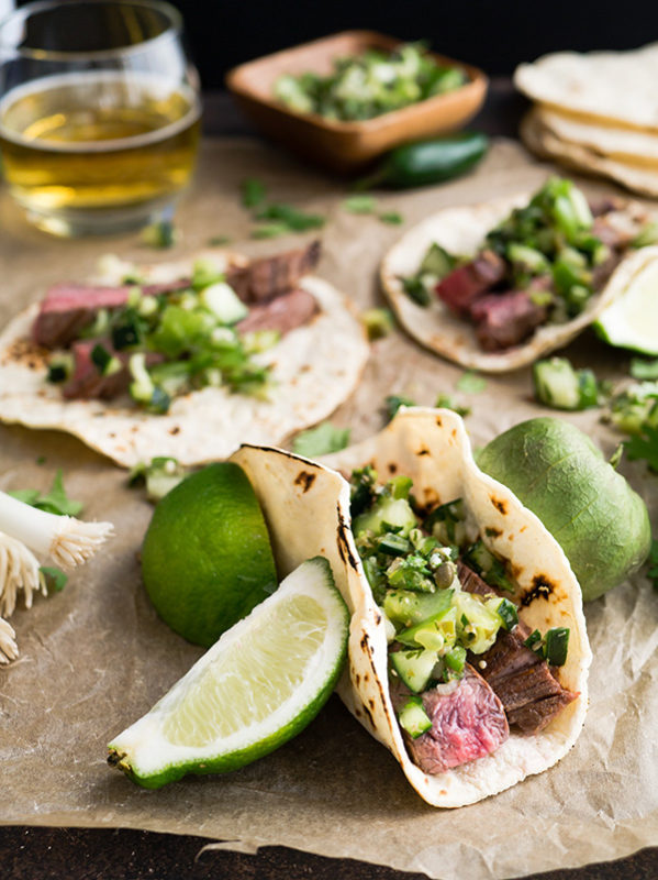 Tacos with tomatillo salsa