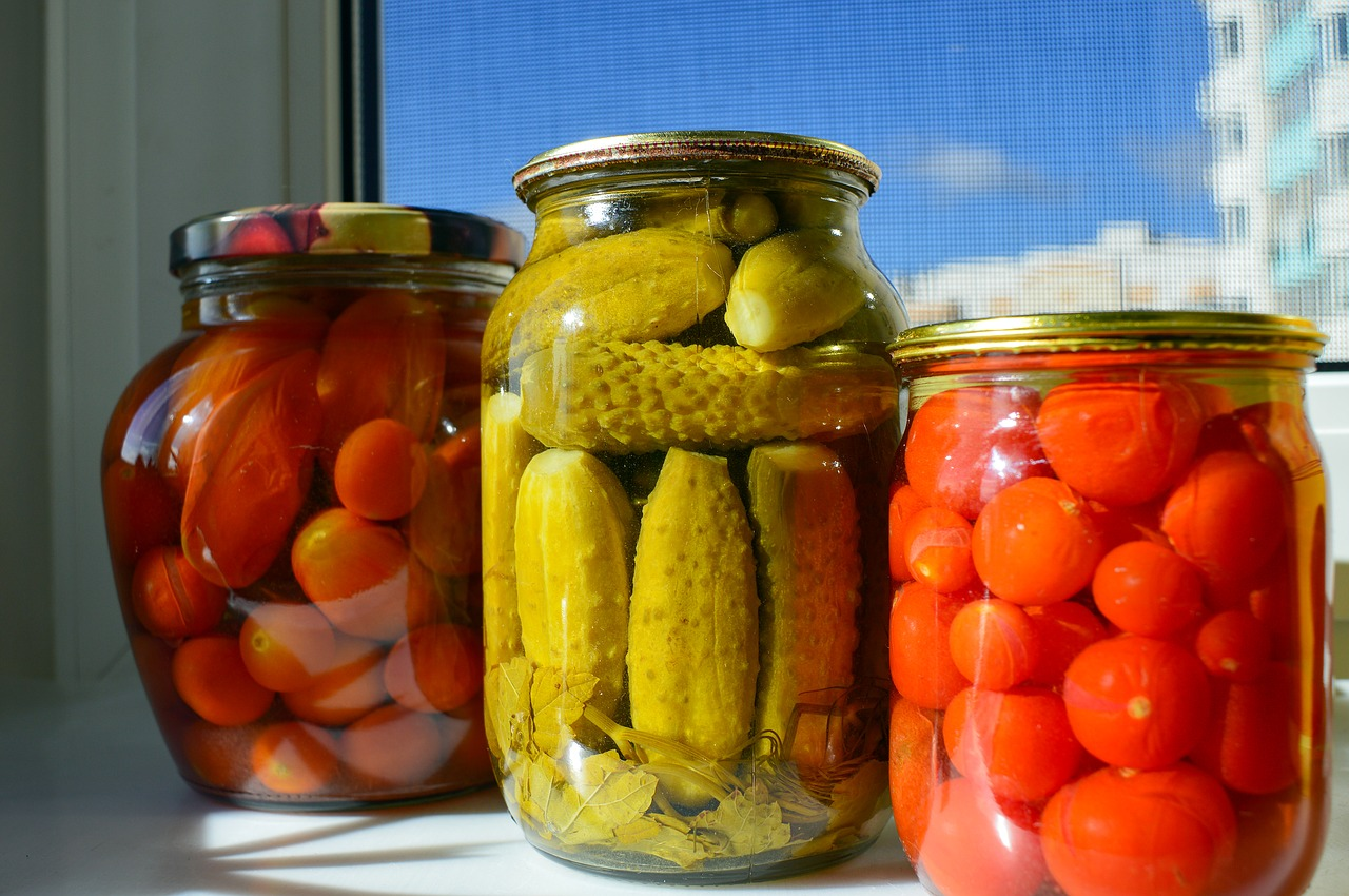 pickling is a wonderful way to preserve these bottles of produce