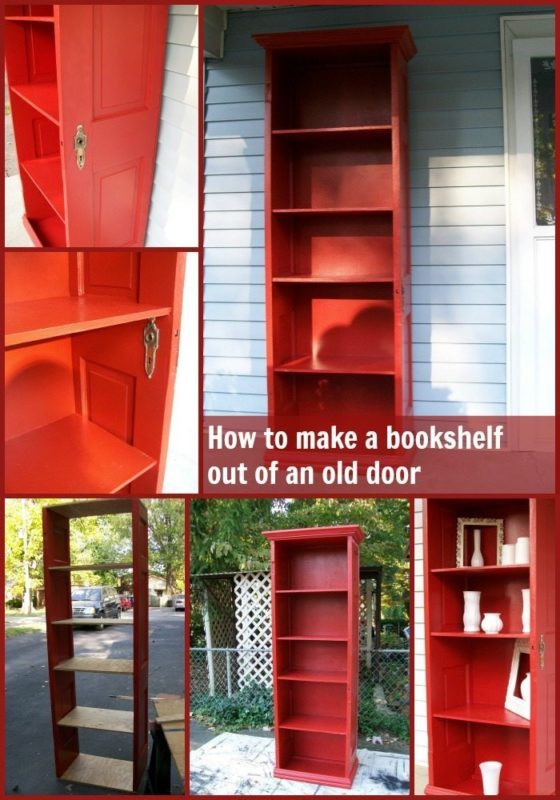 old door ideas for repurposing includes a red bookcase