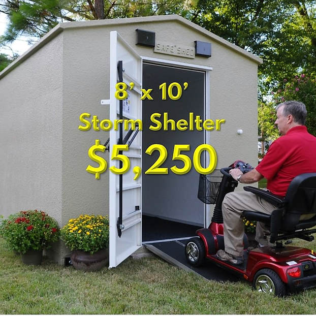 a safe shed functioning as a storm shelter