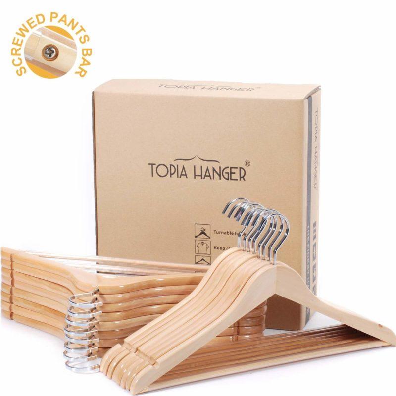 TOPIA HANGER CT01N Wooden Suit Clothes Hangers