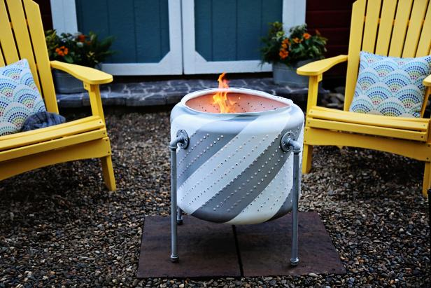 how to upcycle old appliances, make a fire pit