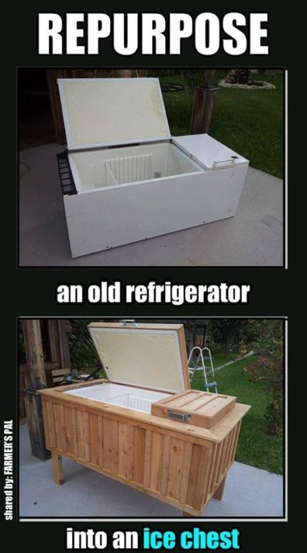 upcycle old appliances from a fridge to an ice chest