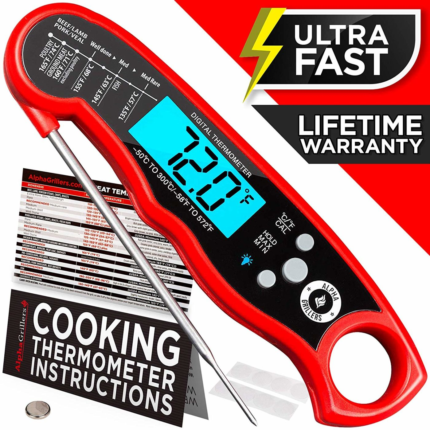 Alpha Grillers Instant Read Digital Meat Thermometer