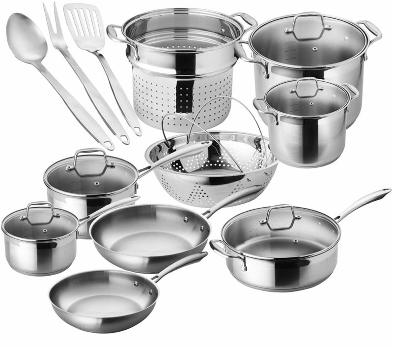 Chef's Star Premium 17 Piece Stainless Steel Cookware Set