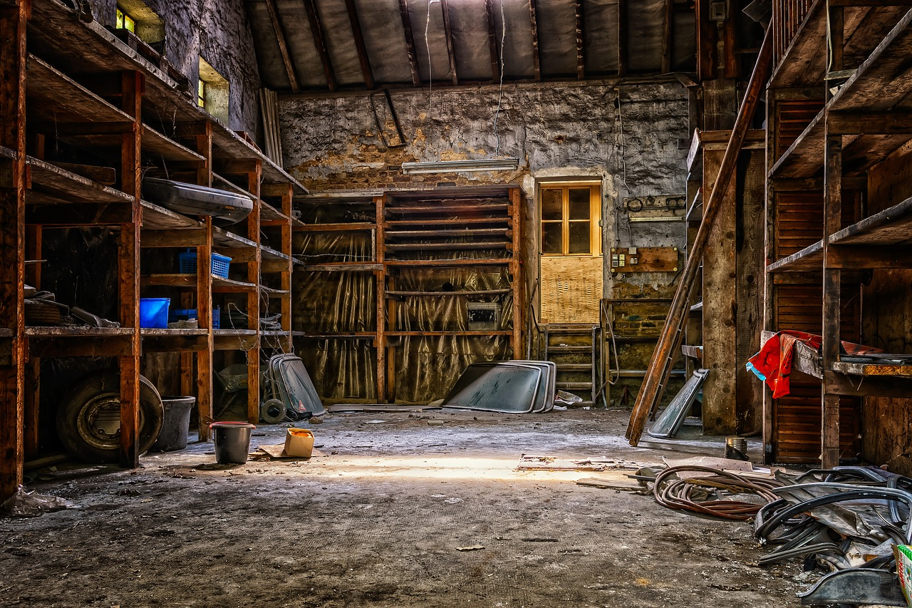 The inside of a barn