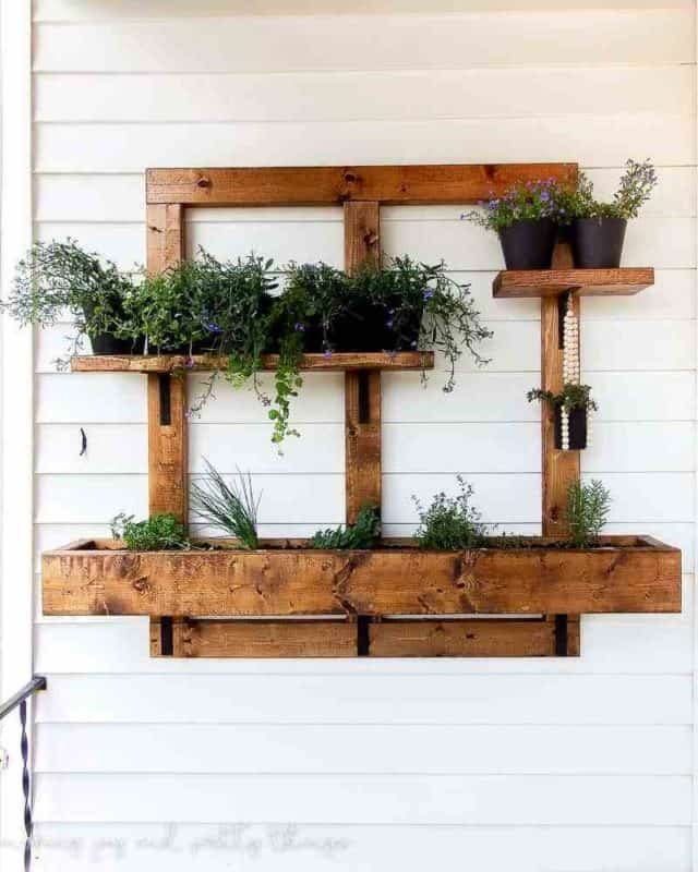 indoor vertical garden in warm wood