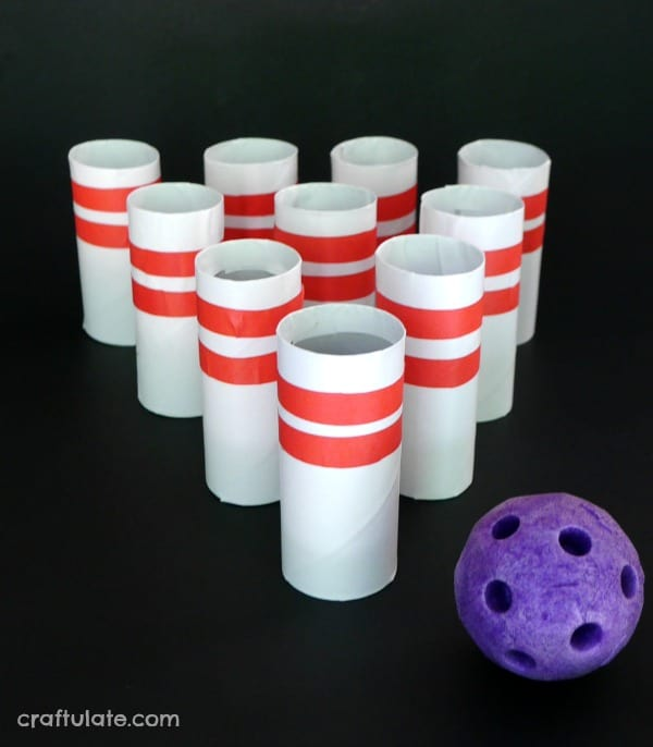 toilet paper roll bowling is a great fun activity for kids