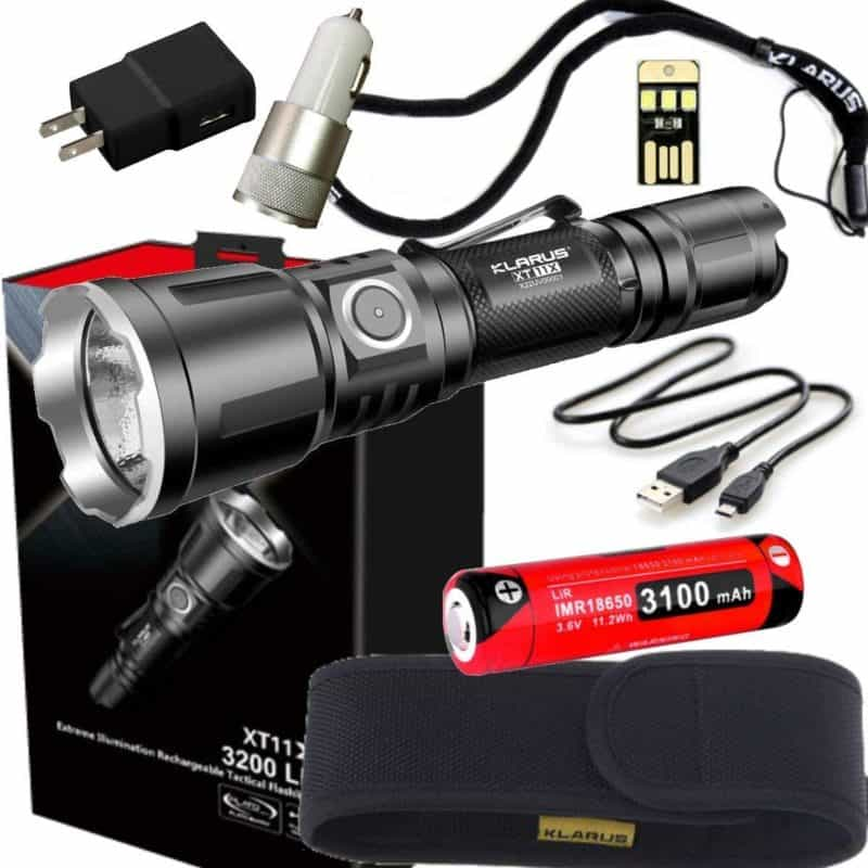Klarus XT11X Super Bundle Includes 3200 Lumen Tactical Rechargeable Flashlight