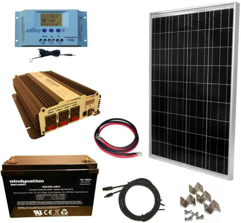 WindyNation 100 Watt Solar Panel Kit