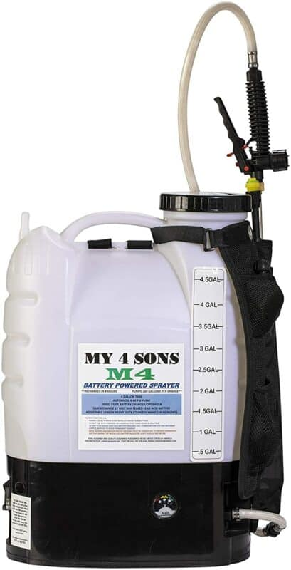 MY4SONS 4-Gallon Battery Powered Backpack Sprayer