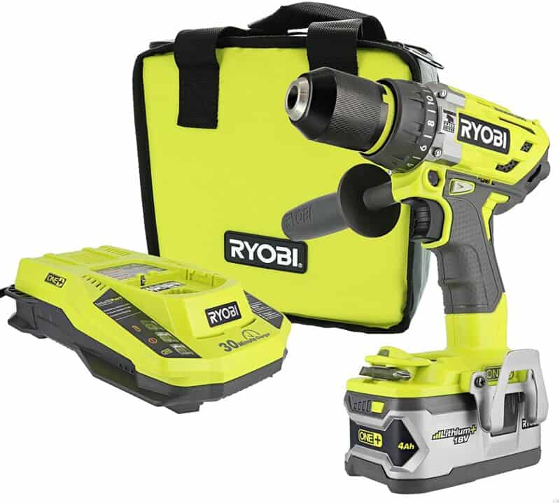 Ryobi P1813 One+ 18V Lithium-Ion Cordless Hammer Drill Power Tool Kit