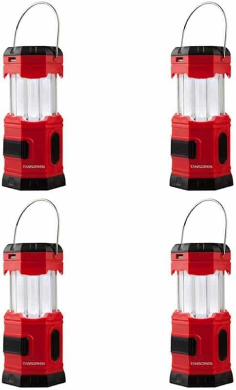 TANSOREN 4-Pack Solar USB Rechargeable LED Camping Lantern Flashlight
